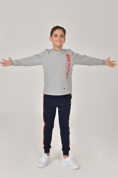 BİLCEE - Bilcee Gri Unisex Çocuk Sweatshirt FW -1490 (1)