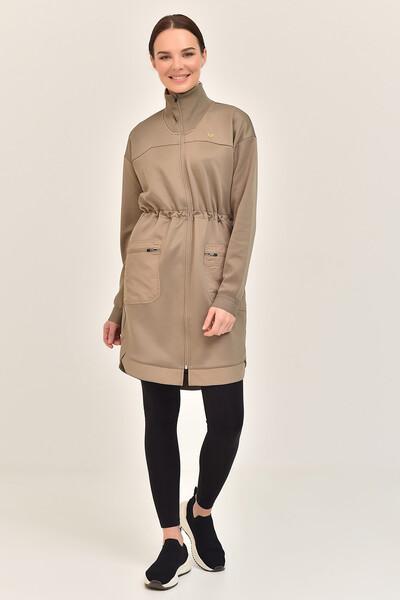 BİLCEE - Bilcee Toprak Rengi Kadın Uzun Ceket GS-1521