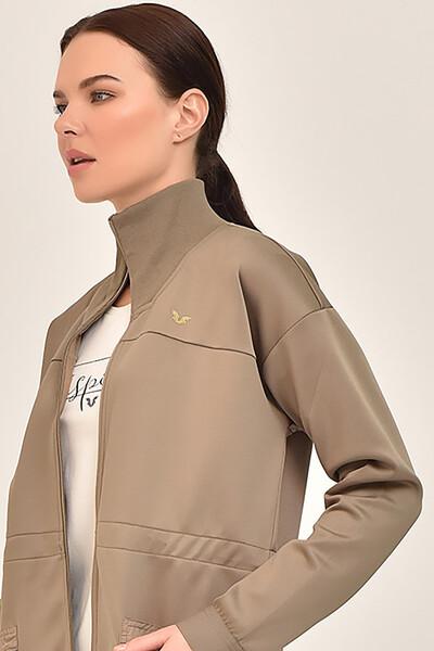 BİLCEE - Bilcee Toprak Rengi Kadın Uzun Ceket GS-1521 (1)