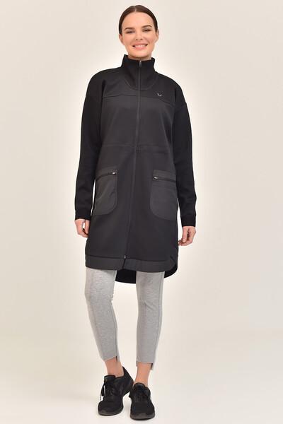 BİLCEE - Bilcee Siyah Kadın Uzun Ceket GS-1521