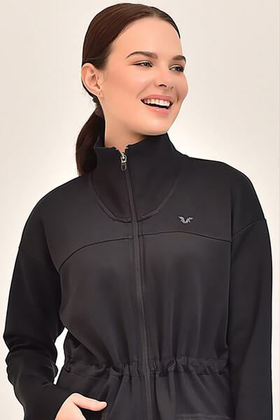 BİLCEE - Bilcee Siyah Kadın Uzun Ceket GS-1521 (1)