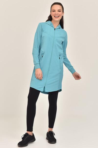 BİLCEE - Bilcee Mavi Kadın Uzun Ceket GS-1522