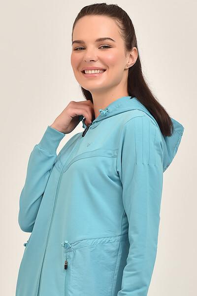 BİLCEE - Bilcee Mavi Kadın Uzun Ceket GS-1522 (1)