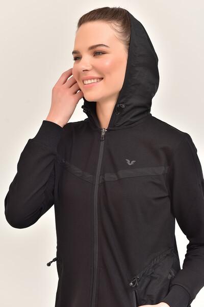 BİLCEE - Bilcee Siyah Kadın Uzun Ceket GS-1522 (1)