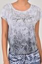 Bilcee Beyaz Pamuk/Poly Kadın T-Shirt ES-3572 - Thumbnail