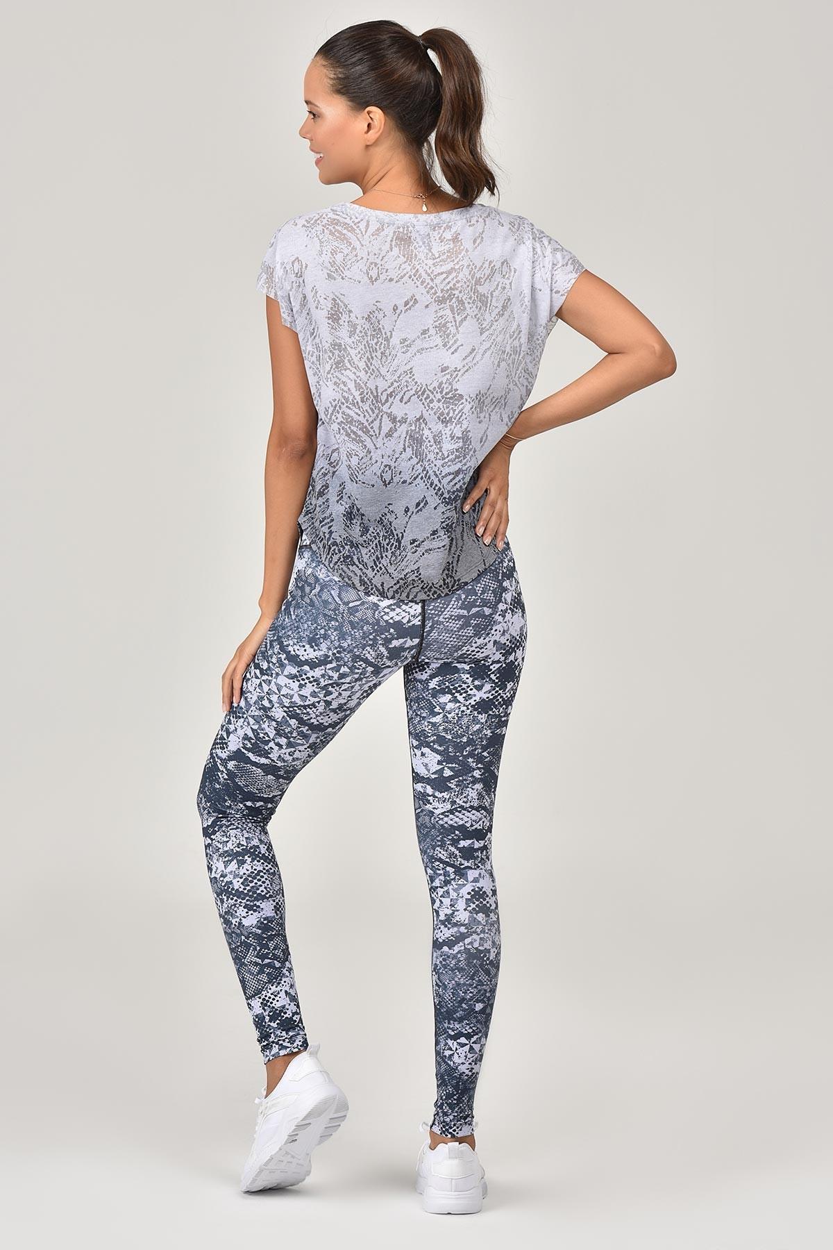 Bilcee Beyaz Pamuk/Poly Kadın T-Shirt ES-3572 BİLCEE