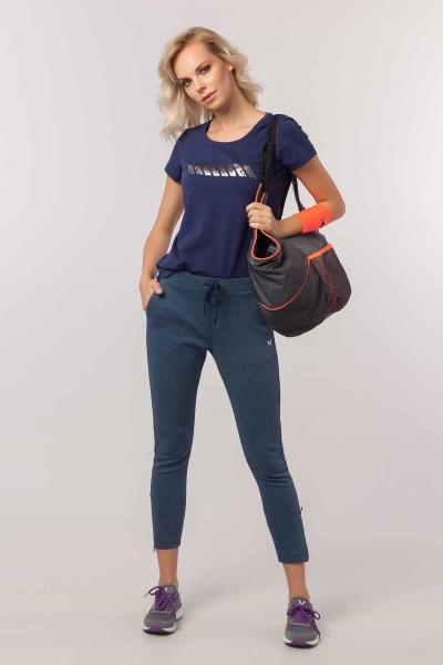 BİLCEE - Bilcee Lacivert Likralı Pamuklu Kadın T-Shirt EW-3006 (1)