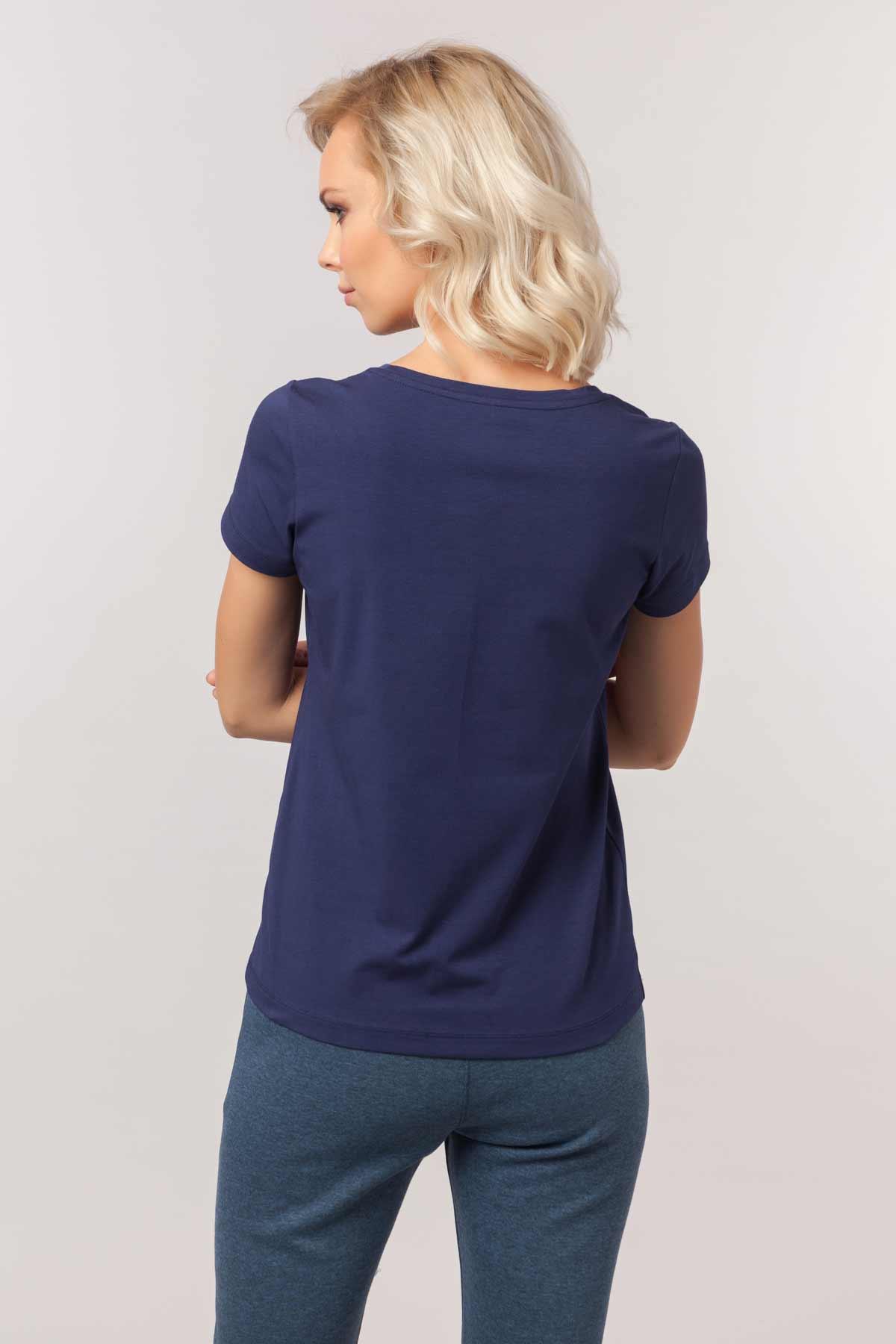 Bilcee Lacivert Likralı Pamuklu Kadın T-Shirt EW-3006 BİLCEE