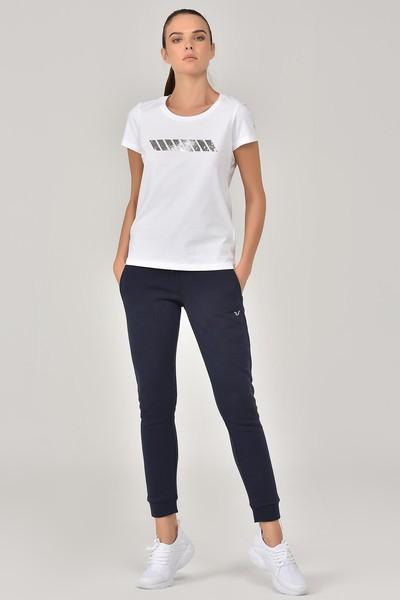 BİLCEE - Bilcee Beyaz Likralı Pamuklu Kadın T-Shirt EW-3006 (1)