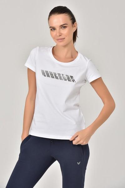 BİLCEE - Bilcee Beyaz Likralı Pamuklu Kadın T-Shirt EW-3006