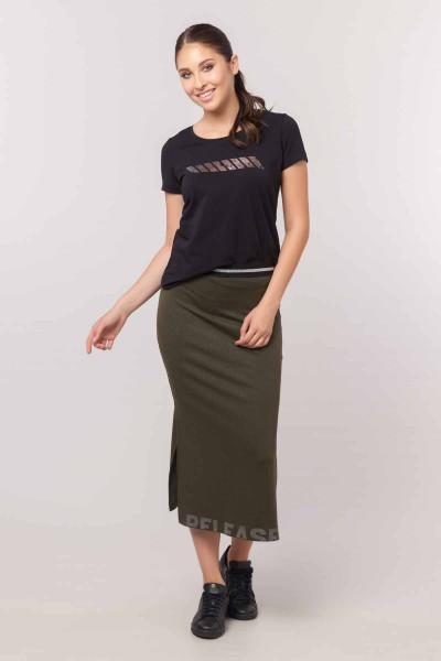 BİLCEE - Bilcee Siyah Likralı Pamuklu Kadın T-Shirt EW-3006 (1)