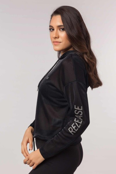 BİLCEE - Bilcee Siyah Simli Kadın Sweatshirt EW-3008 (1)