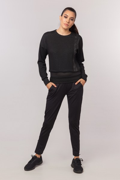 BİLCEE - Bilcee Siyah Simli Kadın Sweatshirt EW-3025 (1)