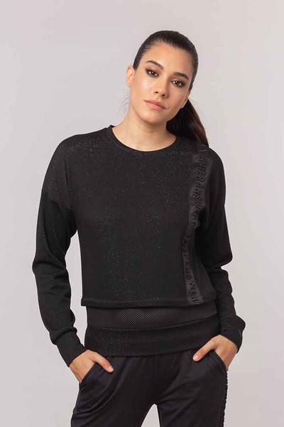 BİLCEE - Bilcee Siyah Simli Kadın Sweatshirt EW-3025