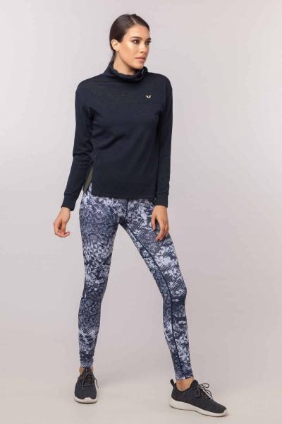 BİLCEE - Bilcee Lacivert Simli Kadın Sweatshirt EW-3031 (1)