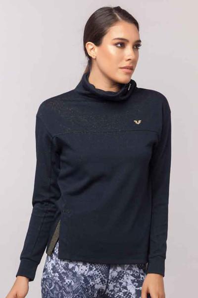 BİLCEE - Bilcee Lacivert Simli Kadın Sweatshirt EW-3031