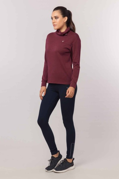 BİLCEE - Bilcee Bordo Simli Kadın Sweatshirt EW-3031 (1)