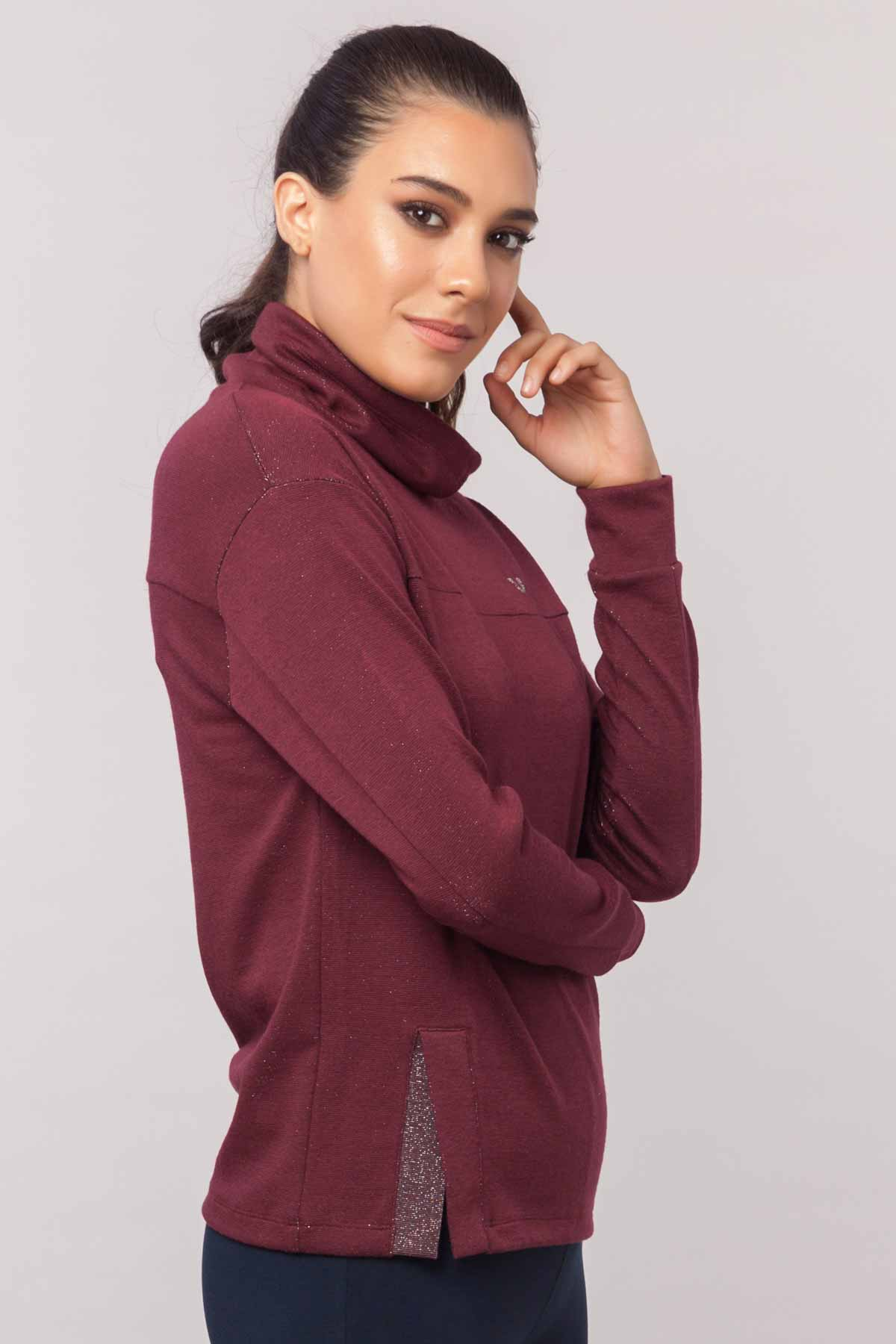 Bilcee Bordo Simli Kadın Sweatshirt EW-3031 BİLCEE