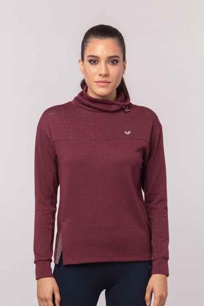 BİLCEE - Bilcee Bordo Simli Kadın Sweatshirt EW-3031