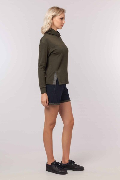 BİLCEE - Bilcee Yeşil Simli Kadın Sweatshirt EW-3031 (1)