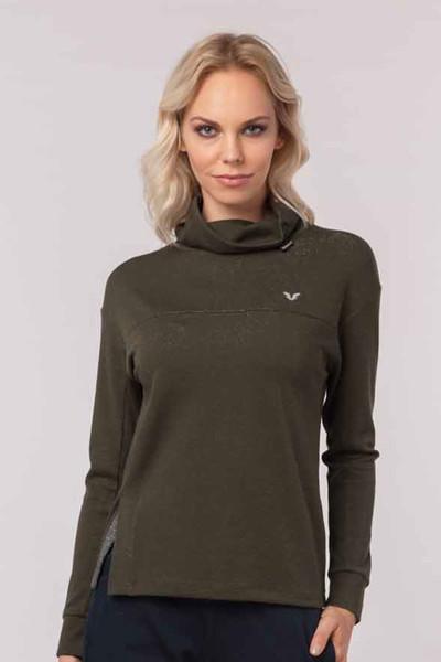 BİLCEE - Bilcee Yeşil Simli Kadın Sweatshirt EW-3031