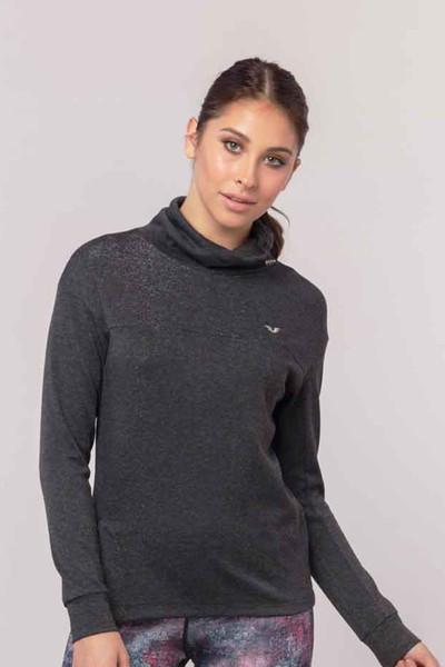 BİLCEE - Bilcee Gri Simli Kadın Sweatshirt EW-3031