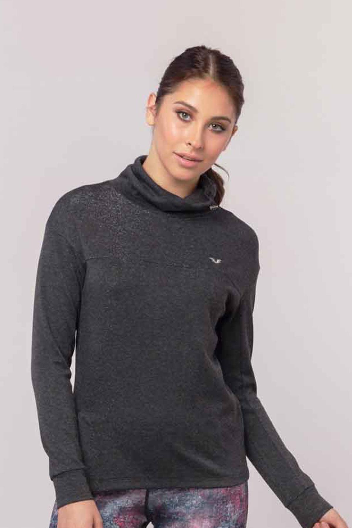 Bilcee Gri Simli Kadın Sweatshirt EW-3031 BİLCEE