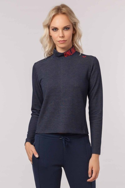 BİLCEE - Bilcee Lacivert Pamuk/Poly Kadın Sweatshirt EW-3062