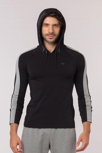 BİLCEE - Bilcee Siyah Pamuklu Erkek Sweatshirt EW-6130