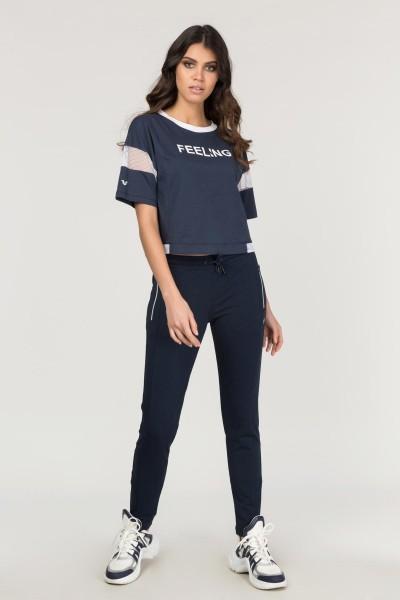 BİLCEE - Bilcee Lacivert Pamuklu Kadın T-Shirt FS-1118 (1)