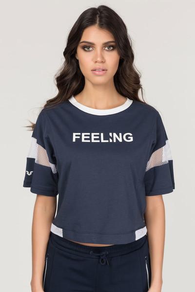 BİLCEE - Bilcee Lacivert Pamuklu Kadın T-Shirt FS-1118