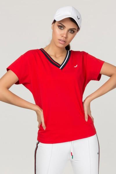 BİLCEE - Bilcee Kırmızı Sırt Detaylı Kadın T-Shirt FS-1120