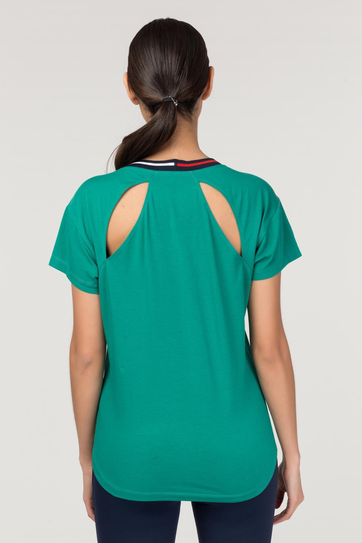 Bilcee Yeşil Sırt Detaylı Kadın T-Shirt FS-1120 BİLCEE