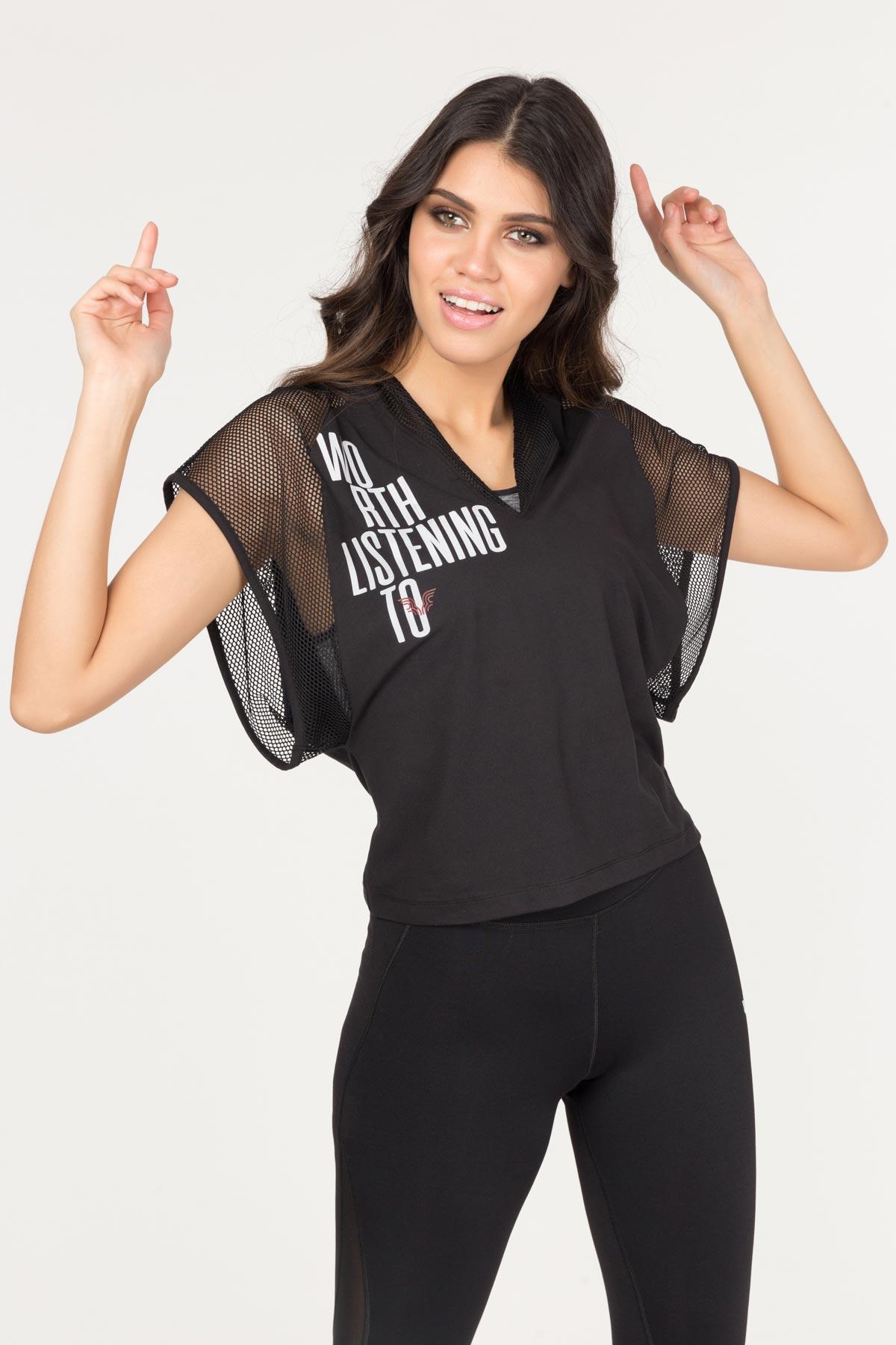Bilcee Siyah Kadın Antrenman T-Shirt FS-1121 BİLCEE