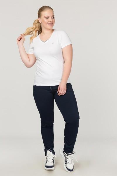 BİLCEE - Bilcee Beyaz Büyük Beden Likralı Pamuklu Kadın T-Shirt FS-1171 (1)