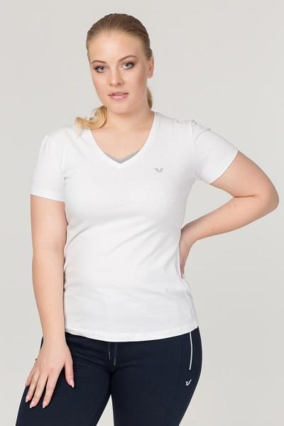 BİLCEE - Bilcee Beyaz Büyük Beden Likralı Pamuklu Kadın T-Shirt FS-1171