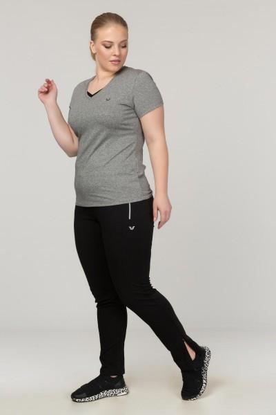 BİLCEE - Bilcee Gri Büyük Beden Likralı Pamuklu Kadın T-Shirt FS-1171 (1)
