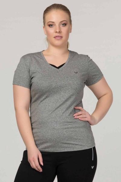BİLCEE - Bilcee Gri Büyük Beden Likralı Pamuklu Kadın T-Shirt FS-1171