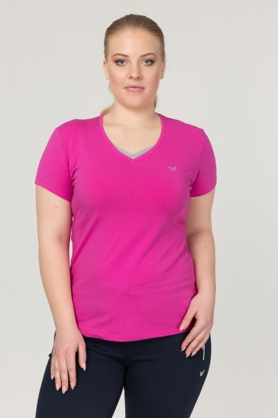 BİLCEE - Bilcee Pembe Büyük Beden Likralı Pamuklu Kadın T-Shirt FS-1171