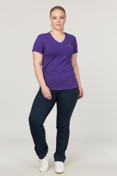 BİLCEE - Bilcee Mor Büyük Beden Likralı Pamuklu Kadın T-Shirt FS-1171 (1)