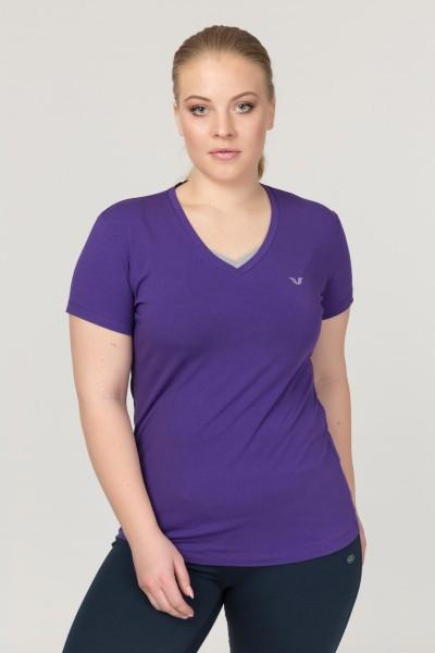 BİLCEE - Bilcee Mor Büyük Beden Likralı Pamuklu Kadın T-Shirt FS-1171
