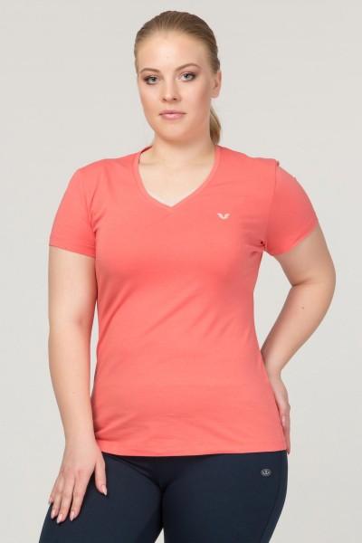 BİLCEE - Bilcee Turuncu Büyük Beden Likralı Pamuklu Kadın T-Shirt FS-1171