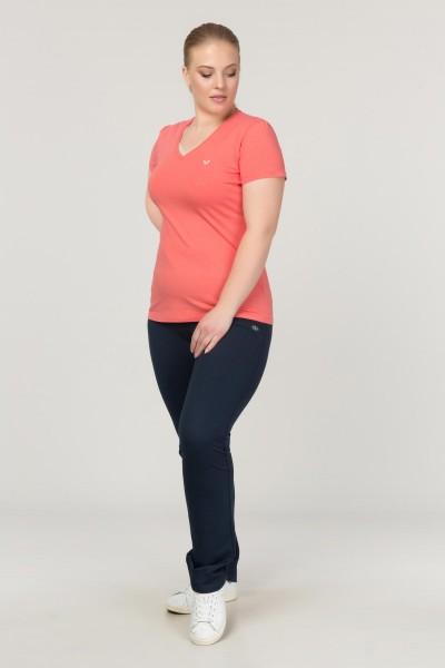 BİLCEE - Bilcee Turuncu Büyük Beden Likralı Pamuklu Kadın T-Shirt FS-1171 (1)