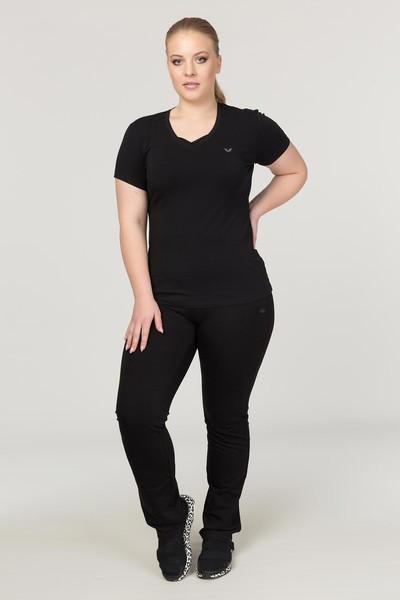 BİLCEE - Bilcee Siyah Büyük Beden Likralı Pamuklu Kadın T-Shirt FS-1171 (1)