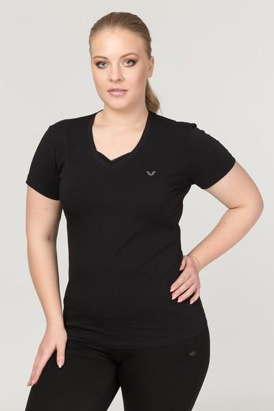 BİLCEE - Bilcee Siyah Büyük Beden Likralı Pamuklu Kadın T-Shirt FS-1171