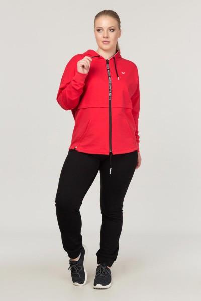 BİLCEE - Bilcee Kırmızı Büyük Beden Pamuk/Poly Kadın Eşofman Takımı FS-1199