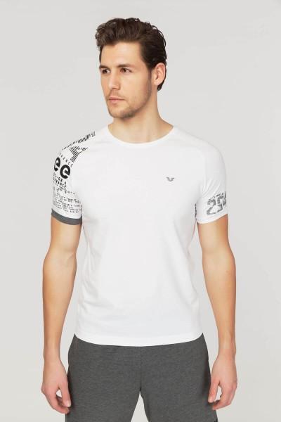 BİLCEE - Bilcee Beyaz Pamuklu Erkek T-Shirt FS-1312