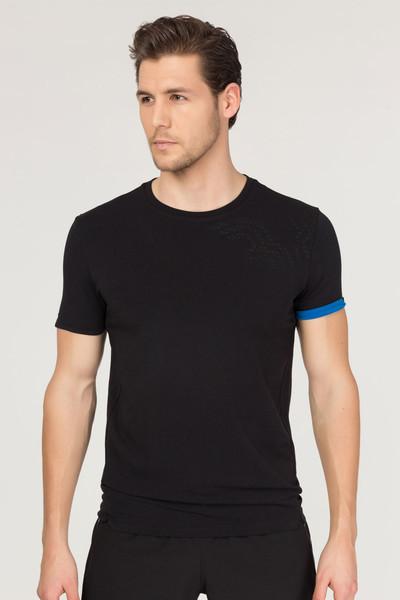 BİLCEE - Bilcee Siyah Pamuklu Erkek T-Shirt FS-1630