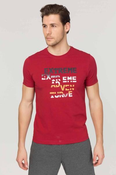 BİLCEE - Bilcee Bordo Pamuklu Erkek T-Shirt FS-1674