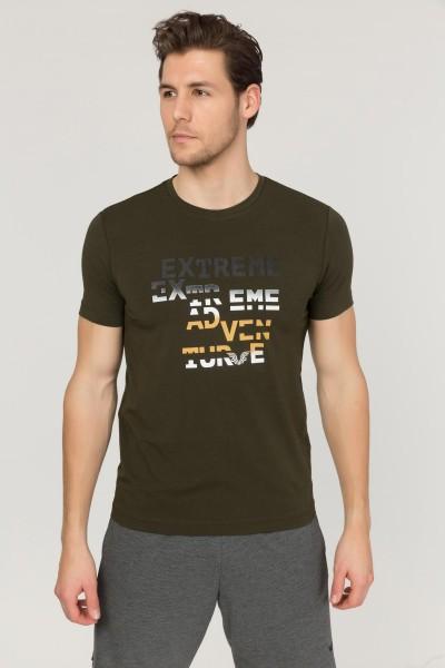BİLCEE - Bilcee Yeşil Pamuklu Erkek T-Shirt FS-1674